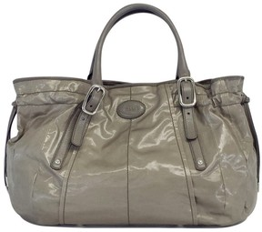 Tod's Grey Coated Canvas Tote Bag