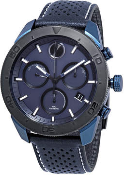Movado Bold Chronograph Blue Dial Blue Leather Men's Watch