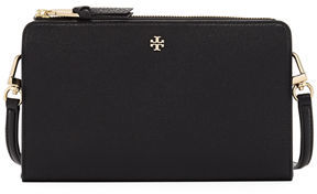 Tory Burch Robinson Pebbled Leather Wallet Crossbody - BLACK - STYLE
