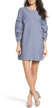Charles Henry Women's Ruched Sleeve Poplin Shift Dress