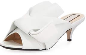 No.21 No. 21 Pleated Napa Leather Low-Heel Slide Sandal