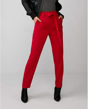 Express high waisted sash waist straight leg ankle pant
