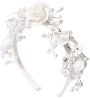 MonnaLisa Satin Band W/ Flowers & Imitation Pearls