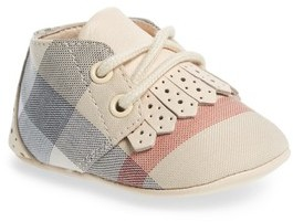 Burberry Infant Girl's Tom Lace-Up Crib Shoe