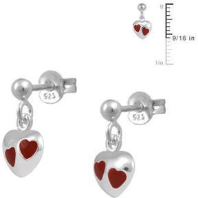 Ice Girls' Sterling Silver Red Enameled Dangling Heart Earrings