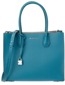 MICHAEL Michael Kors Mercer Large Leather Tote. - BLUE - STYLE