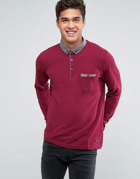 Brave Soul Long Sleeve Contrast Collar Polo Shirt