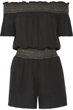 Rachel Zoe Lisa Off-the-shoulder Shirred Silk Crepe De Chine Playsuit - Black