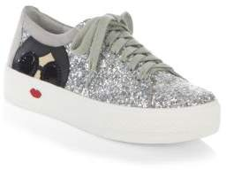 Alice + Olivia Glitter Lace-Up Sneakers