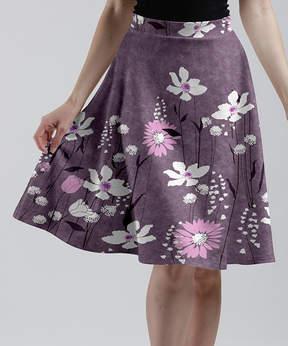 Lily Lavender & White Modernist Floral A-Line Skirt - Women & Plus