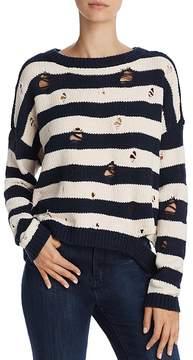 Aqua Chenille Striped Distressed Sweater - 100% Exclusive
