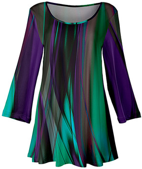 Lily Purple & Green Wisp Three-Quarter Sleeve Tunic - Women & Plus