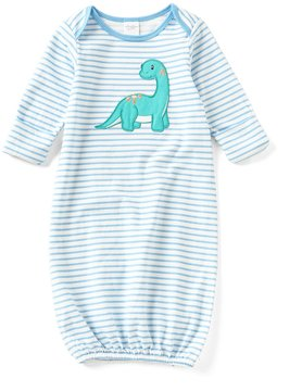 Starting Out Baby Boys Newborn-6 Months Striped Dinosaur-Applique Gown