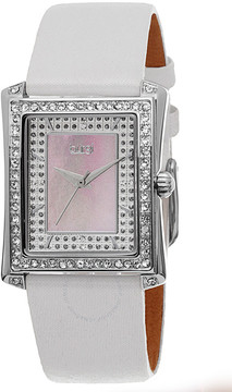 Burgi White Leather Blue Mother of Pearl Dial Ladies Watch