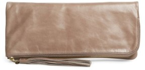 Hobo Raine Calfskin Leather Foldover Clutch - Grey