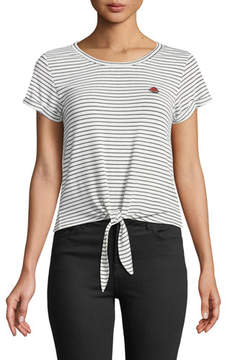 Cupcakes And Cashmere Campton Striped Front-Tie Crewneck Top