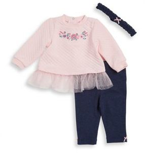 Little Me Baby Girls Three-Piece Floral Cotton Headband Dress and Leggings Set