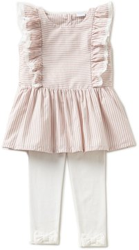Edgehill Collection Little Girls 2T-4T Striped Flutter-Sleeve Top & Bow Leggings Set
