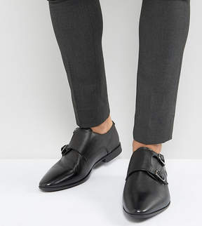 Asos Wide Fit Monk Shoe In Black Leather With Embossing