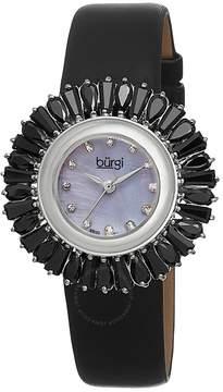 Burgi Black Baguette Crystal Bezel Mother of Pearl Dial Ladies Watch