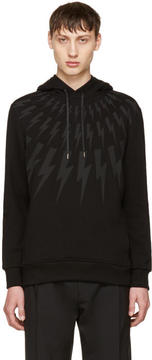 Neil Barrett Black Fairisle Thunderbolt Hoodie