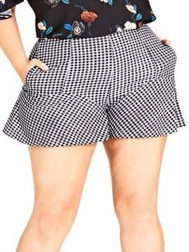 City Chic Plus Gingham Print Shorts