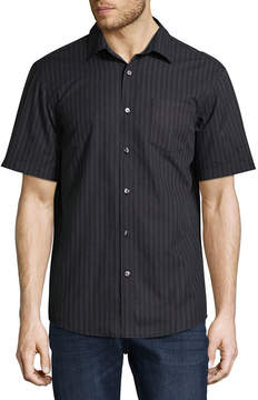 Claiborne Short Sleeve Paisley Button-Front Shirt