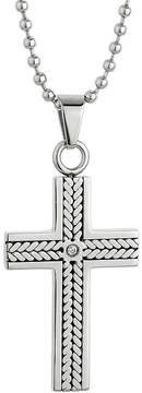JCPenney FINE JEWELRY Mens Cubic Zirconia Stainless Steel Cross Pendant Necklace