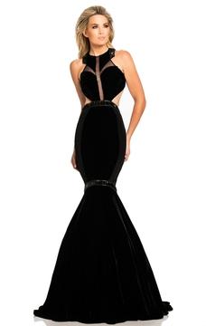 Johnathan Kayne 8096 Fitted Halter Velvet Mermaid Gown