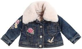 MonnaLisa Stretch Denim Jacket W/ Faux Fur