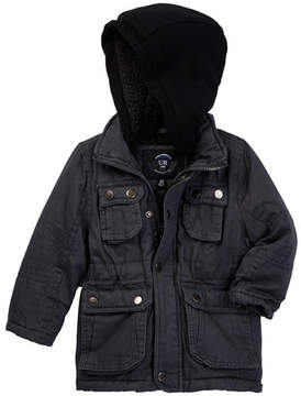 Urban Republic Washed Cotton Twill Faux Shearling Lined Safari Jacket (Toddler & Little Boys)