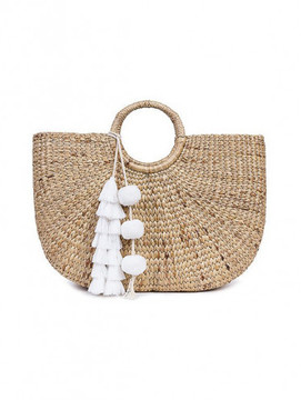 Jade Tribe White tasseled basket bag