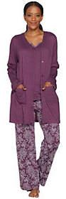 Carole Hochman Tall Floral Paisley Interlock 3-PC Lounge Set