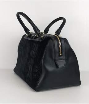 Alice + Olivia Alice & Olivia- Black Leather & Fur Satchel