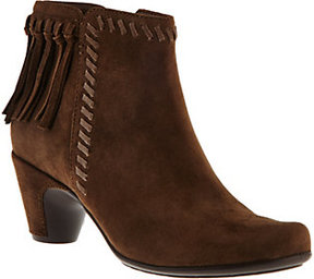 Earth Earthies Suede Ankle Boots with Fringe - Zurich