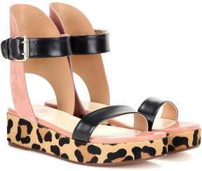 Francesco Russo Leather, suede and calf hair sandals