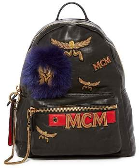 MCM Stark Leather and Genuine Fox Fur Detail Insignia Medium Backpack