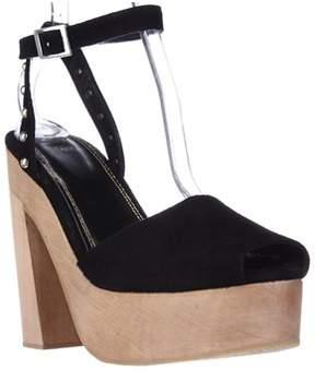 Maje Flash Platform Studded Peep Toe Clog Sandals, Black.