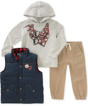 Kids Headquarters 3-Pc. Graphic-Print Hoodie, Vest & Pants Set, Toddler Boys (2T-5T)