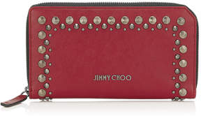 Jimmy Choo CARNABY Red Leather Travel Wallet with Punk Studs