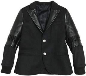 Armani Junior Wool Felt & Faux Leather Jacket