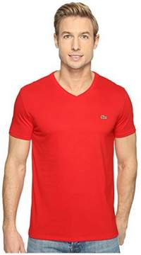 Lacoste Mens Short Sleeve Solid V Neck Tee