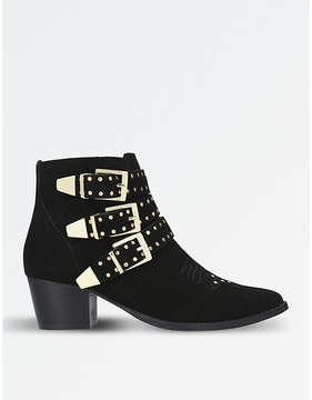 Miss KG Ladies Black Classic Tiger Suede Studded Ankle Boots