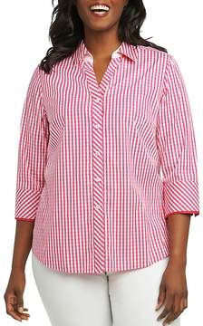 Foxcroft Plus Mary Gingham Button-Down Top