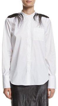 Brunello Cucinelli Poplin Mandarin-Collar Shirt with Feather Epaulettes