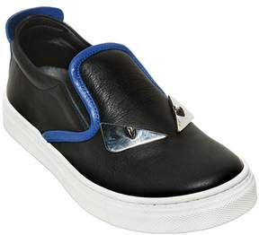 Fendi Monster Nappa Leather Slip-On Sneakers
