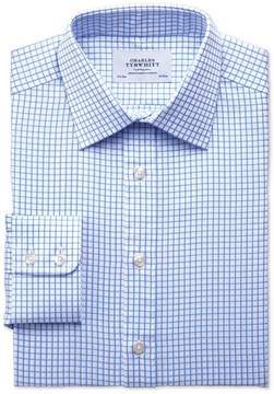 Charles Tyrwhitt Classic Fit Twill Grid Check Sky Blue Cotton Dress Shirt Single Cuff Size 15/35