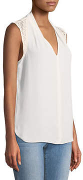 T Tahari Daria Crochet-Shoulder Sleeveless Blouse
