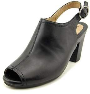 Earth Origins Sydney Women Peep-toe Leather Black Slingback Heel.