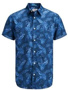 Jack and Jones Jorpaka Print Cotton Button-Down Shirt